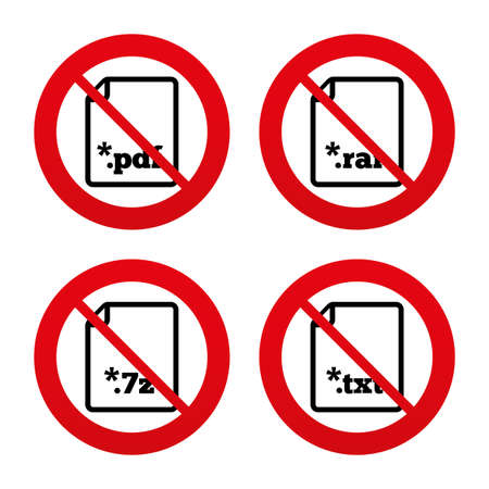 rar: No, Ban or Stop signs. Download document icons. File extensions symbols. PDF, RAR, 7z and TXT signs. Prohibition forbidden red symbols. Vector