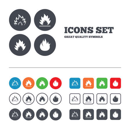 inflammable: Fire flame icons. Heat symbols. Inflammable signs. Web buttons set. Circles and squares templates. Vector Illustration
