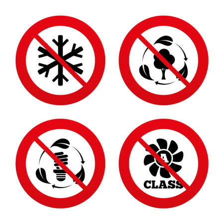 fresh air: No, Ban or Stop signs. Fresh air icon. Forest tree with leaves sign. Fluorescent energy lamp bulb symbol. A-class ventilation. Air conditioning symbol. Prohibition forbidden red symbols. Vector Illustration