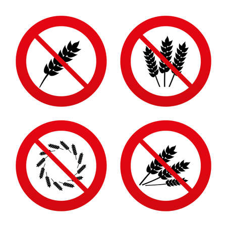 crop circles: No, Ban or Stop signs. Agricultural icons. Gluten free or No gluten signs. Wreath of Wheat corn symbol. Prohibition forbidden red symbols. Vector Illustration