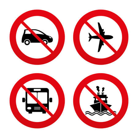 no label: No, Ban or Stop signs. Transport icons. Car, Airplane, Public bus and Ship signs. Illustration