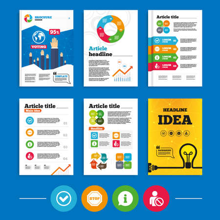 blacklist: Brochure or flyers design. Information icons. Stop prohibition and user blacklist signs. Approved check mark symbol. Business poll results infographics. Vector Illustration