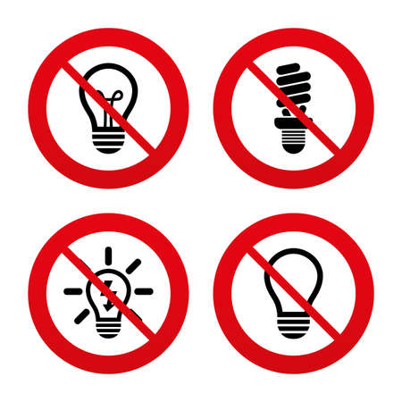 No: No, Ban or Stop signs. Light lamp icons. Fluorescent lamp bulb symbols. Energy saving. Idea and success sign. Prohibition forbidden red symbols. Vector Illustration