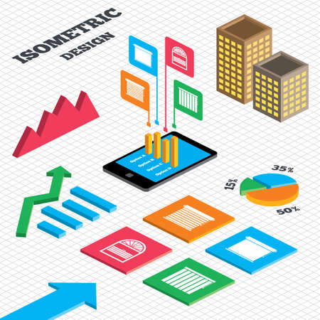 Isometric design. Graph and pie chart. Louvers icons. Plisse, rolls, vertical and horizontal. Window blinds or jalousie symbols. Tall city buildings with windows. Vector Illustration