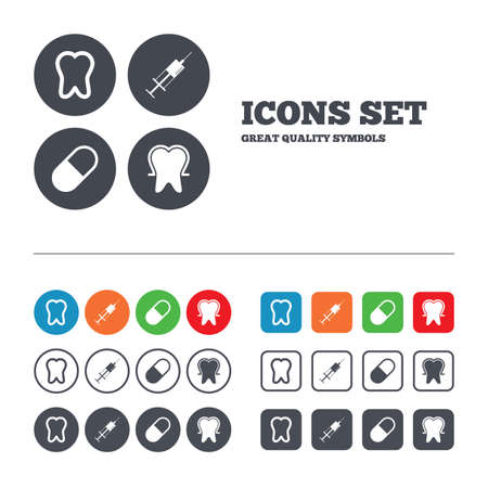enamel: Tooth enamel protection icons. Medical syringe and pill signs. Medicine injection symbol. Web buttons set. Circles and squares templates. Vector