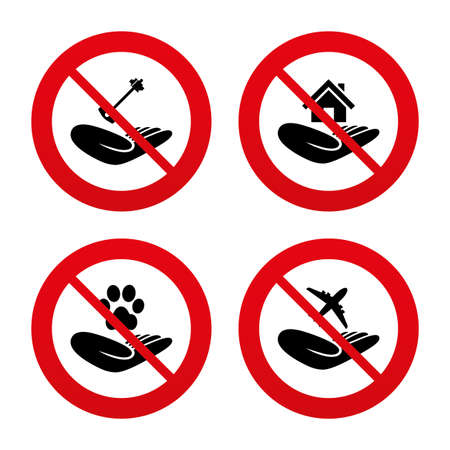 No, Ban or Stop signs. Helping hands icons. Shelter for dogs symbol. Home house or real estate and key signs. Flight trip insurance. Prohibition forbidden red symbols. Vector Vector