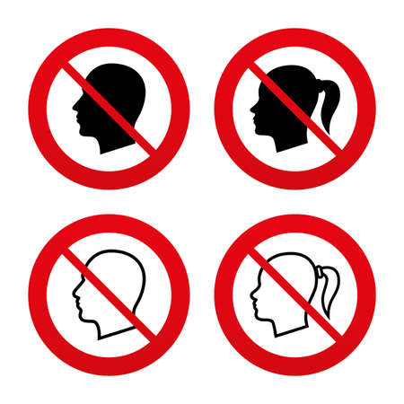 pigtail: No, Ban or Stop signs. Head icons. Male and female human symbols. Woman with pigtail signs. Prohibition forbidden red symbols. Vector