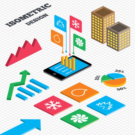 Isometric Design. Graph And Pie Chart. HVAC Icons. Heating ...