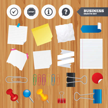 paper sheets: Paper sheets. Office business stickers, pin, clip. Information icons. Stop prohibition and question FAQ mark speech bubble signs. Approved check mark symbol. Squared, lined pages. Vector
