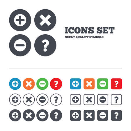 enlarge: Plus and minus icons. Delete and question FAQ mark signs. Enlarge zoom symbol. Web buttons set. Circles and squares templates. Vector
