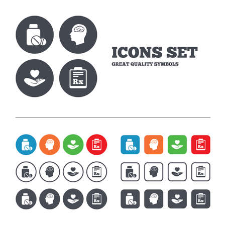 rx: Medicine icons. Medical tablets bottle, head with brain, prescription Rx signs. Pharmacy or medicine symbol. Hand holds heart. Web buttons set. Circles and squares templates. Vector Illustration