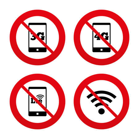 3g: No, Ban or Stop signs. Mobile telecommunications icons. 3G, 4G and LTE technology symbols. Wifi Wireless and Long-Term evolution signs. Prohibition forbidden red symbols. Vector
