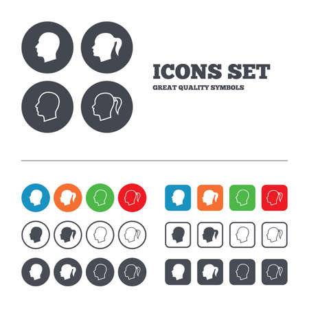 pigtail: Head icons. Male and female human symbols. Woman with pigtail signs. Web buttons set. Circles and squares templates. Vector
