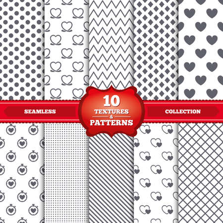 palpitation: Repeatable patterns and textures. Heart ribbon icon. Timer stopwatch symbol. Love and Heartbeat palpitation signs. Gray dots, circles, lines on white background. Vector