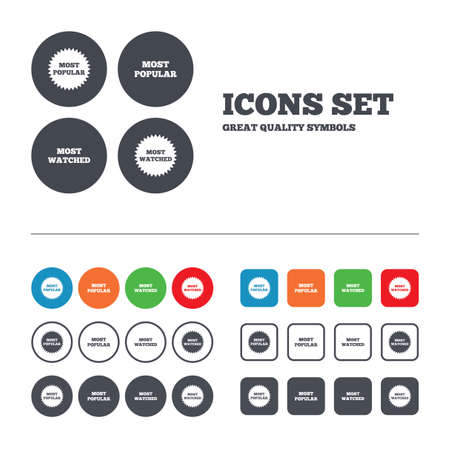 most popular: Most popular star icon. Most watched symbols. Clients or users choice signs. Web buttons set. Circles and squares templates. Vector