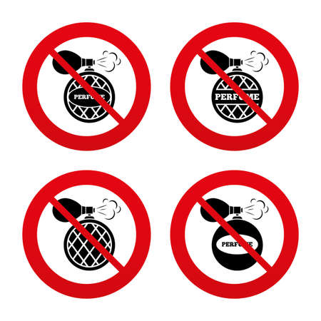 fragrance: No, Ban or Stop signs. Perfume bottle icons. Glamour fragrance sign symbols. Prohibition forbidden red symbols. Vector