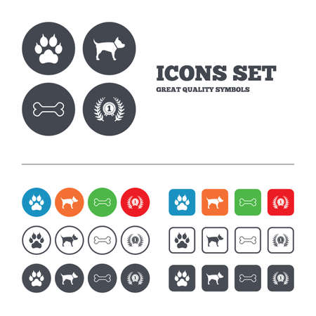 clutches: Pets icons. Cat paw with clutches sign. Winner laurel wreath and medal symbol. Pets food. Web buttons set. Circles and squares templates. Vector