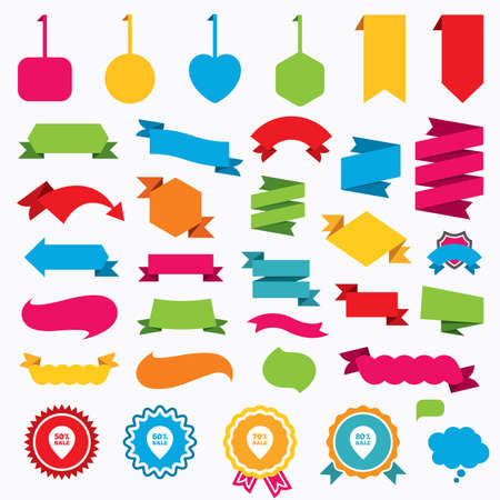 seventy: Web stickers, tags and banners. Illustration