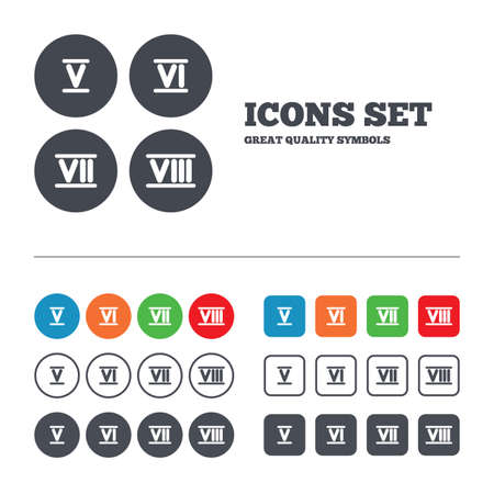 7 8: Roman numeral icons. 5, 6, 7 and 8 digit characters.  Illustration