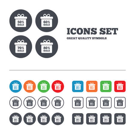 seventy: Sale gift box tag icons. Discount special offer symbols.