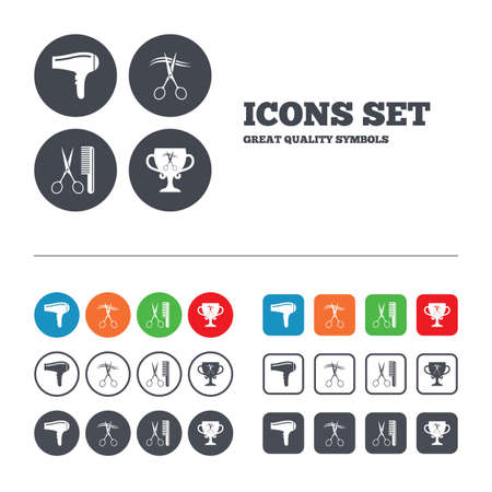 cut hair: Hairdresser icons. Scissors cut hair symbol. Comb hair with hairdryer symbol. Barbershop winner award cup. Web buttons set. Circles and squares templates. Vector