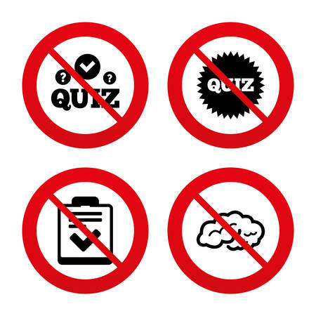kwis: Nee, Ban of Stop borden. Quiz pictogrammen.
