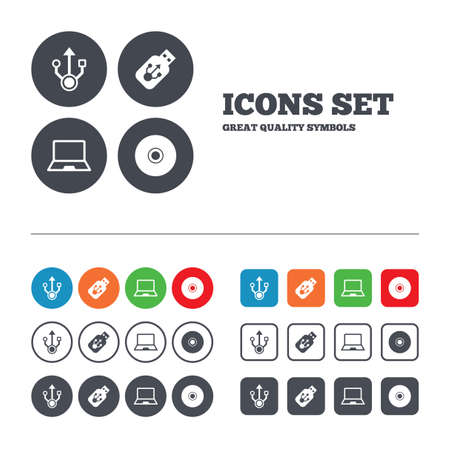 ultrabook: Usb flash drive icons. Notebook or Laptop pc symbols. CD or DVD sign. Compact disc. Web buttons set. Circles and squares templates. Vector
