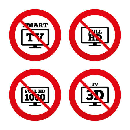 No, Ban or Stop signs. Smart TV mode icon. Widescreen symbol. Full hd 1080p resolution. 3D Television sign. Prohibition forbidden red symbols. Vector