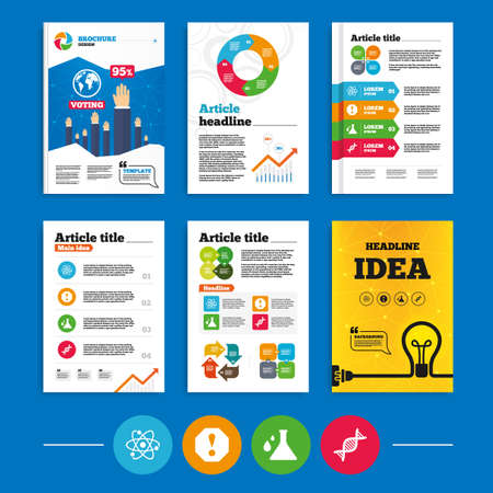 arrow poison: Brochure or flyers design. Attention and DNA icons. Chemistry flask sign. Atom symbol. Business poll results infographics. Vector