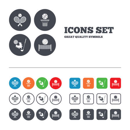 volleyball net: Tennis rackets with ball. Basketball basket. Volleyball net with ball. Golf fireball sign. Sport icons. Web buttons set. Circles and squares templates. Vector Illustration