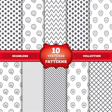 pin stripe: Repeatable patterns and textures. Happy face speech bubble icons. Smile sign. Map pointer symbols. Gray dots, circles, lines on white background. Vector