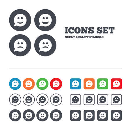round face: Speech bubble smile face icons. Happy, sad, cry signs. Happy smiley chat symbol. Sadness depression and crying signs. Web buttons set. Circles and squares templates. Vector Illustration