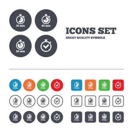 min: Timer icons. 35, 45 and 50 minutes stopwatch symbols. Check or Tick mark. Web buttons set. Circles and squares templates. Vector