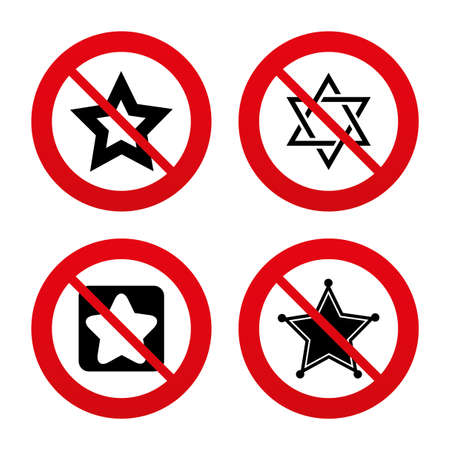 yiddish: No, Ban or Stop signs. Star of David icons. Sheriff police sign. Symbol of Israel. Prohibition forbidden red symbols. Vector Illustration