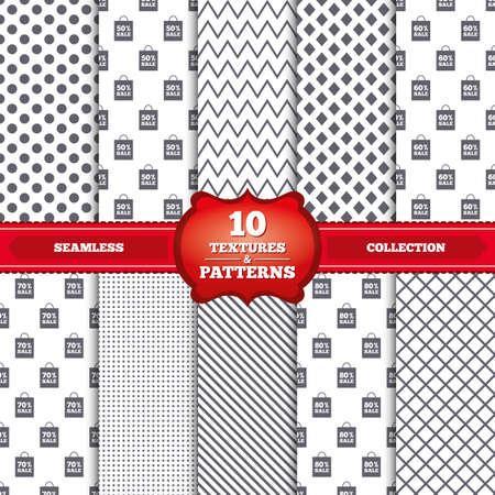 50 60: Patrones y texturas repetibles. Iconos de la venta de etiquetas bolsa. Descuento s�mbolos oferta especial. 50%, 60%, 70% y el 80% por ciento de signos de venta. Puntos grises, c�rculos, l�neas sobre fondo blanco. Vector