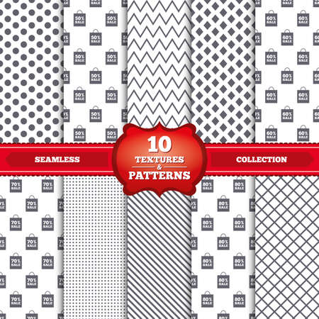 60 70: Repeatable patterns and textures. Sale bag tag icons. Discount special offer symbols. 50%, 60%, 70% and 80% percent sale signs. Gray dots, circles, lines on white background. Vector Illustration