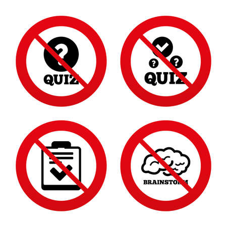 No, Ban or Stop signs. Quiz icons. Human brain think. Checklist with check mark symbol. Survey poll or questionnaire feedback form sign. Prohibition forbidden red symbols. Vector Vector