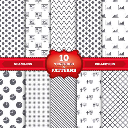 demand: Repeatable patterns and textures. Diagram graph Pie chart icon. Presentation billboard symbol. Supply and demand. Man standing with pointer. Gray dots, circles, lines on white background. Vector Illustration