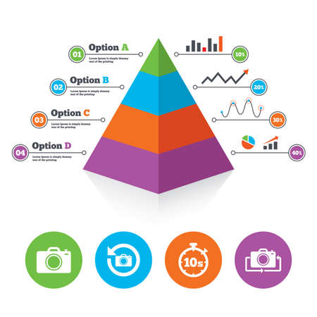 Pyramid chart template. Photo camera icon. Flip turn or refresh symbols. Stopwatch timer 10 seconds sign. Infographic progress diagram. Vector Vector
