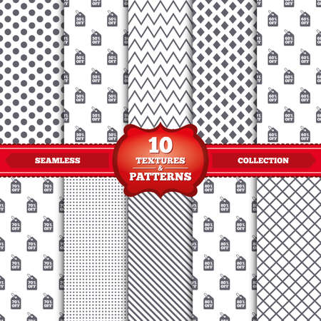 50 to 60: Repeatable patterns and textures. Sale price tag icons. Discount special offer symbols. 50%, 60%, 70% and 80% percent off signs. Gray dots, circles, lines on white background. Vector