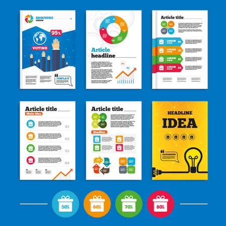 50 60: Brochure or flyers design. Sale gift box tag icons. Discount special offer symbols. 50%, 60%, 70% and 80% percent discount signs. Business poll results infographics. Vector Vectores