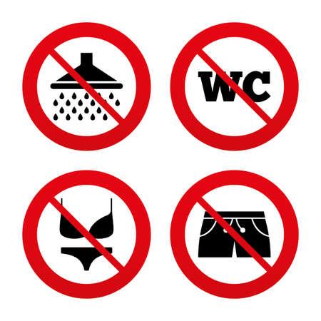 Nein, Ban oder Stoppschilder. Schwimmbad-Symbole. Dusche Wassertropfen und Badebekleidung Symbole. WC WC-Zeichen. Trunks und Frauen Unterwäsche. Prohibition verbotenen roten Symbolen. Vektor