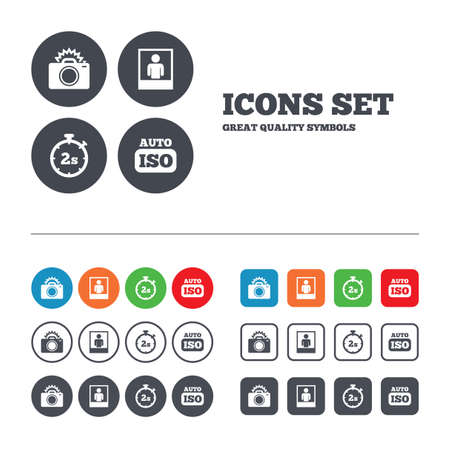 web 2: Photo camera icon. Flash light and Auto ISO symbols. Stopwatch timer 2 seconds sign. Human portrait photo frame. Web buttons set. Circles and squares templates. Vector
