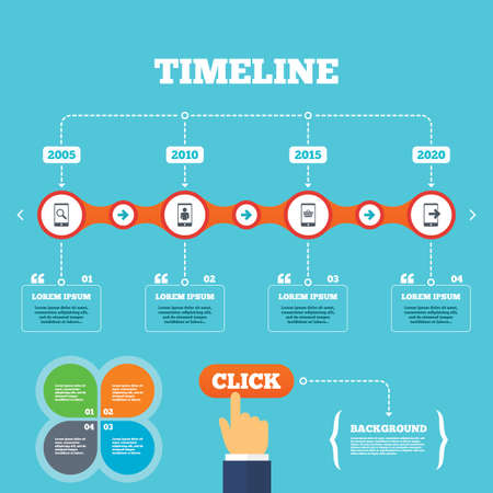 outcoming: Timeline with arrows and quotes. Phone icons. Smartphone video call sign. Search, online shopping symbols. Outcoming call. Four options steps. Click hand. Vector Illustration