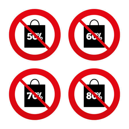 60 70: No, Ban or Stop signs. Sale bag tag icons. Discount special offer symbols. 50%, 60%, 70% and 80% percent discount signs. Prohibition forbidden red symbols. Vector