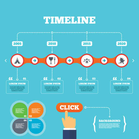 Timeline with arrows and quotes. Food, hotel, camping tent and tree icons. Wineglass and fork. Break down tree. Road signs. Four options steps. Click hand. Vector Vector