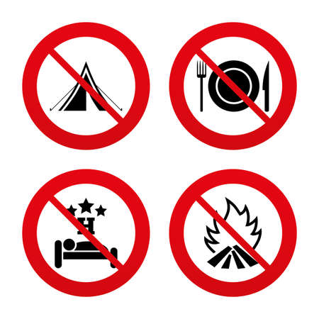 breakfast in bed: No, Ban or Stop signs. Food, sleep, camping tent and fire icons. Knife, fork and dish. Hotel or bed and breakfast. Road signs. Prohibition forbidden red symbols. Vector