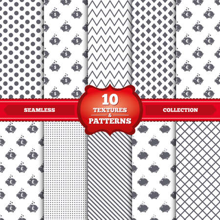 Repeatable patterns and textures. Piggy bank icons. Dollar, Euro and Pound moneybox signs. Cash coin money symbols. Gray dots, circles, lines on white background. Vector Illustration