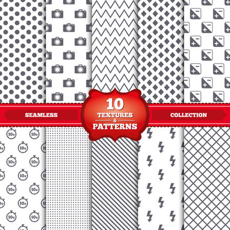 seconds: Repeatable patterns and textures. Photo camera icon. Flash light and exposure symbols. Stopwatch timer 10 seconds sign. Gray dots, circles, lines on white background. Vector
