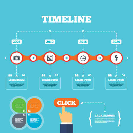 seconds: Timeline with arrows and quotes. Photo camera icon. Flash light and exposure symbols. Stopwatch timer 10 seconds sign. Four options steps. Click hand. Vector